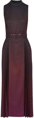 Mary Katrantzou Julia Belted Pleated Degrade Houndstooth Twill Midi Dress