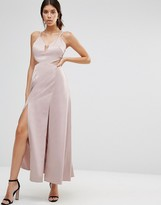 True Decadence Satin Slip Maxi Dress with Thigh Splits
