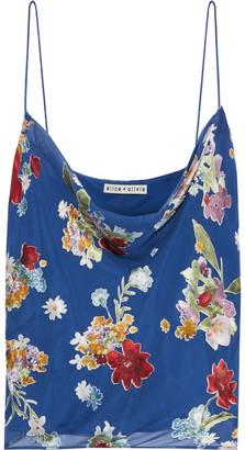 Alice + Olivia Harmon Draped Floral-print Burnout Chiffon Camisole