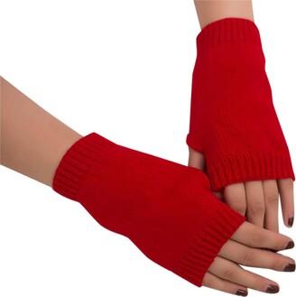 jieGorge Women Girl Knitted Arm Fingerless Keep Warm Winter Gloves Soft Warm Mitten Red