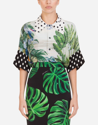 Dolce & Gabbana Oversized Short-Sleeved Shirt In Silk With Mixed Tropical Print