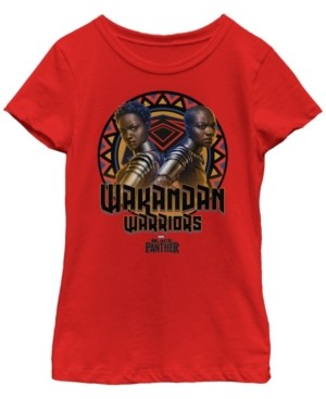 Fifth Sun Marvel Big Girl's Black Panther Movie Warrior Circle Short Sleeve T-Shirt