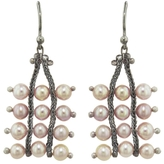 Ten Thousand Things Studded Pink Pearl Square Chain Earrings