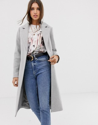 New Look belted tailored coat in light grey