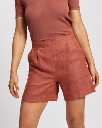 Nobody Denim Women's Orange High-Waisted - Clean Linen Shorts - Size One Size, XS at The Iconic