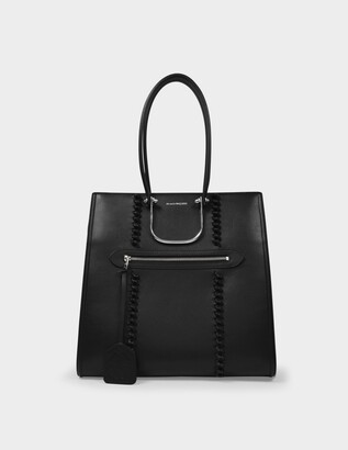 Alexander McQueen The Tall Story Tote Bag in Black Smooth Leather