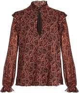 Giambattista Valli Abstract-print georgette blouse