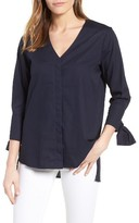 Gibson Women's Tie Sleeve Poplin Top