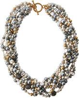 Lydell NYC Multi-Strand Beaded Torsade Necklace, Gray