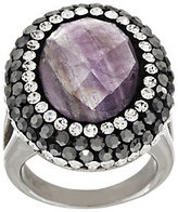 QVC As Is Stainless Steel Faceted Gemstone and Crystal Ring