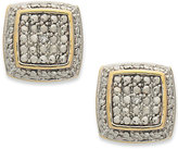 Townsend Victoria 18k Gold over Sterling Silver Earrings, Diamond Accent Cushion-Cut Earrings
