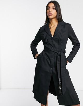 ELVI slim coat with tassle detail in black