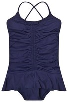 Melissa Odabash Navy Ruched Frill Swimsuit
