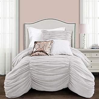 Lush Decor Ruching Ticking Stripe 2 Piece Comforter Set
