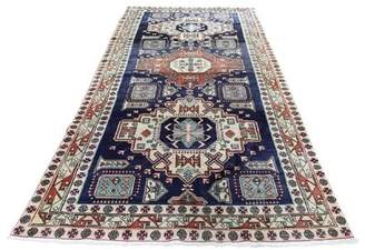 "Blue Area One-of-a-Kind Applegate North West Tribal Hand-Knotted Runner 4'5"" x 9'10"" Wool Rug Canora Grey"