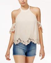 Astr Alesandra Cold-Shoulder Lace-Trim Top