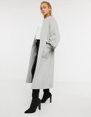 Helene Berman wool blend edge to edge balloon sleeve coat in gray