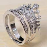 Ring Shinning Princess Noble Crown 18k White Gold Plated AAA Zircon Austria Crystal Rhinestone Wedding Engagement Bridal Mother's Day Gift R1