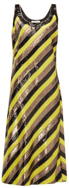 Diane von Furstenberg Luisa Scoop Neck Sequin Striped Silk Midi Dress - Womens - Yellow Multi
