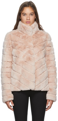 Yves Salomon Pink Crop Rex Rabbit Fur Coat