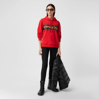 Burberry Slogan Print Cotton Oversized Hoodie
