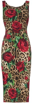 Dolce & Gabbana Leopard Rose Print Bodycon Midi Dress
