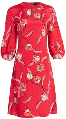 St. John Floral Stretch-Silk Puff-Sleeve Dress