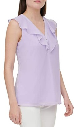 Calvin Klein Sleeveless Chiffon Blouse w/ Buttons (Soft White) Women's Clothing