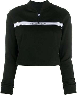 Calvin Klein Jeans Logo Stripe Detail Cropped Sweatshirt