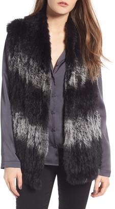 Love Token Genuine Dyed Rabbit Fur High Neck Vest