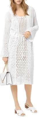 MICHAEL Michael Kors Crocheted Long-Line Cardigan