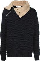 Pierre Balmain shearling collar knit jacket