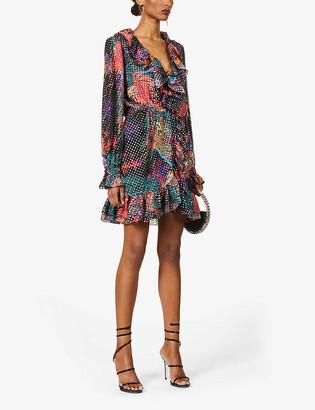 Dundas Metallic printed silk-blend mini dress