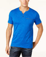 INC International Concepts Men's Chambers Heathered Split-Neck T-Shirt, Created for Macy's
