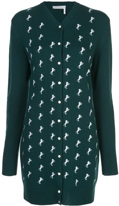 Chloé Horse Embroidered Knit Cardigan Dress