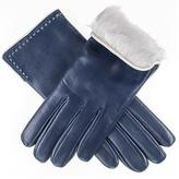 Black Navy Blue and Ivory Rabbit Fur Lined Leather Gloves