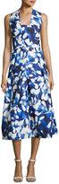 Milly Elisa Pleated Floral Faille Midi Dress, Blue