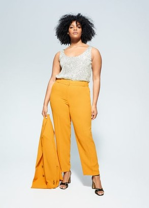 MANGO Violeta BY Pleated suit pants curry - S - Plus sizes