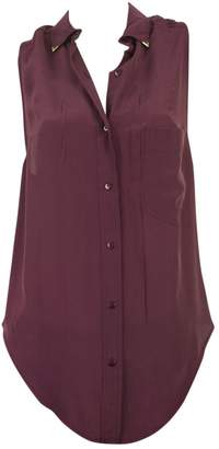 American Retro Purple Silk Tops
