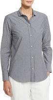 Brunello Cucinelli Striped Blouse w/Monili Collar, Gray