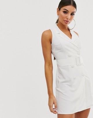 Asos Design DESIGN sleeveless tux mini dress-White
