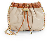 Badgley Mischka Melanie Two-Tone Drawstring Leather Pouch
