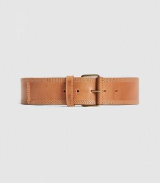 Reiss Lou - Leather Waist Belt in Tan