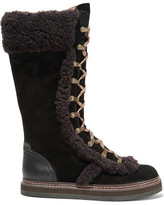 See by Chloe Shearling-trimmed Suede Boots - Black