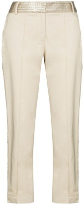 Silvia Tcherassi Cropped Satin-Stripe Trousers