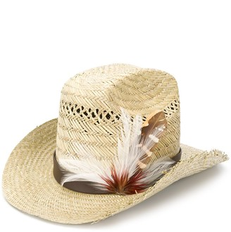 Saint Laurent Feather Embellished Cowboy Hat