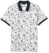 Perry Ellis Men's Pima Cotton Floral Print Short Sleeve Polo Shirt