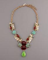 Oscar de la Renta Stone & Crystal Bib Necklace