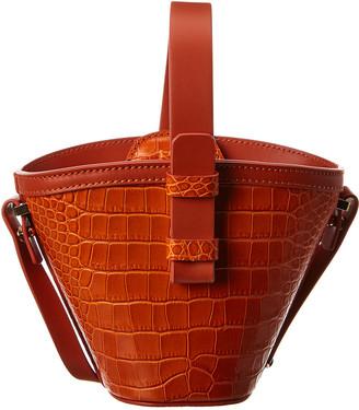 Nico Giani Nelia Mini Croc-Embossed Leather Bucket Bag
