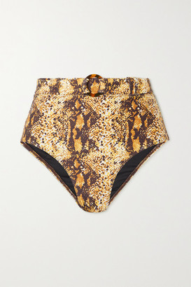 Faithfull The Brand Net Sustain Goa Belted Snake-print Bikini Briefs